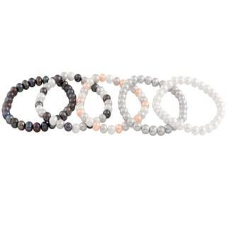 Elastic Adjustable Freshwater Pearl Bracelets (6-7mm)