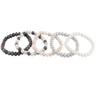 Elastic Adjustable Freshwater Pearl Bracelets (6-7mm)