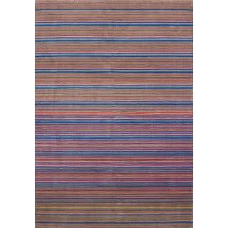 ecarpetgallery Hand-knotted Luribaft Gabbeh Riz Blue/ Pink Wool Rug (5'8 x 8'3)