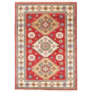 ecarpetgallery Hand-knotted Royal Kazak Beige/ Red Wool Rug (4'2 x 5'10)