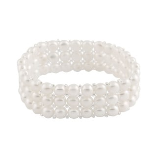 Triple Row Freshwater Pearl Stretch Bracelet (6-7 mm)
