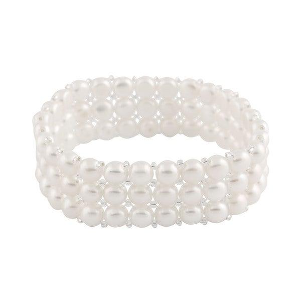 Triple Row Freshwater Pearl Stretch Bracelet (6-7 mm)