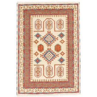 ecarpetgallery Hand-knotted Royal Kazak Beige/ Red Wool Rug (4'2 x 6')