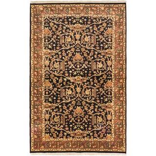 ecarpetgallery Hand-knotted Finest Agra Jaipur Black Wool Rug (5'2 x 8')