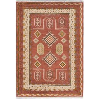 ecarpetgallery Hand-knotted Royal Kazak Brown Wool Rug (4'8 x 6'3)