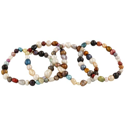 Multicolored Freshwater Pearl Elastic Bracelets (6-7mm)