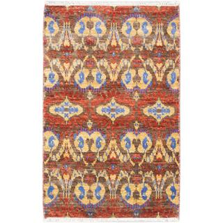 ecarpetgallery Hand-knotted Finest Ushak Red/ Yellow Wool Rug (3'3 x 4'11)