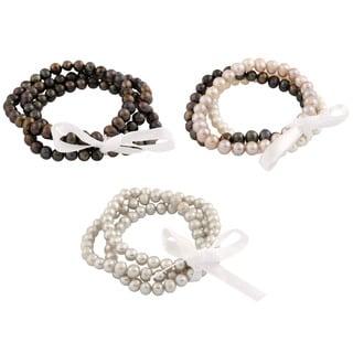 Link to Freshwater Pearl Elastic Bracelets (Set of 3) Similar Items in Bracelets