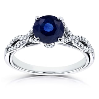 Annello by Kobelli 14k White Gold Blue Sapphire and 1/6ct TDW Diamond Crossover Ring (H-I