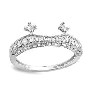 14k White Gold 1/2ct TDW and Princess Diamond Bridal Wedding Enhancer Guard Band (H-I, I1-I2)