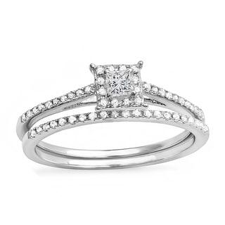 Elora 14k White Gold 1/3ct TDW Princess Diamond Halo Engagement Bridal Ring Set (H-I, I1-I2)