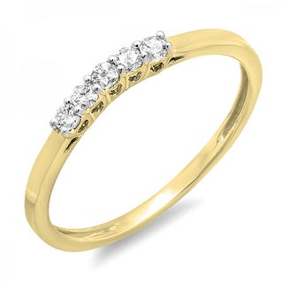 Elora 14k Gold 1/6ct TDW White Diamond 5-stone Wedding Band Ring