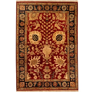Herat Oriental Indo Hand-knotted Mahal Red/ Navy Wool Rug (5' x 7'1)