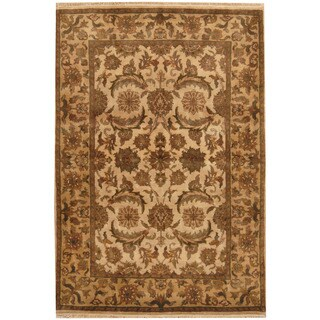 Herat Oriental Indo Hand-knotted Mahal Ivory/ Light Gold Wool Rug (4'3 x 6'1)
