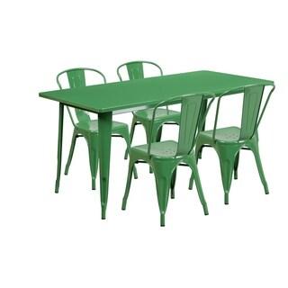 31.5'' x 63'' Rectangular Metal Indoor-Outdoor Table Set with 4 Stack Chairs
