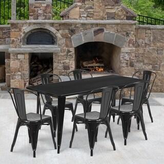 31.5'' x 63'' Rectangular Metal Indoor-Outdoor Table Set with 6 Stack Chairs
