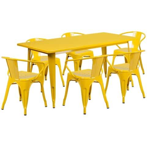 31.5'' x 63'' Rectangular Metal Indoor-Outdoor Table Set with 6 Arm Chairs