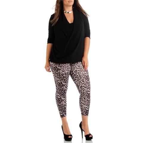 Dinamit Women's Plus Size Grey Leopard Ankle Length Leggings
