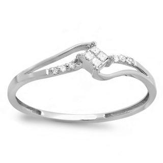 Elora 10k White Gold 1/10ct TDW Diamond Engagement Bridal Ring (I-J, I2-I3)