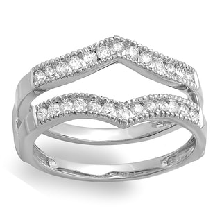 Elora 14k White Gold 1/2ct TDW Diamond Milgrain Wedding Band Guard Double Ring (H-I, I1-I2)