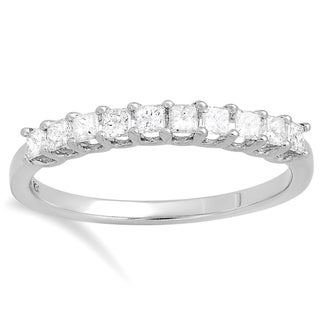 Elora 14k White Gold 1/2ct TDW Princess-cut White Diamond Bridal Wedding Band Stackable Ring (H-I, I1-I2)