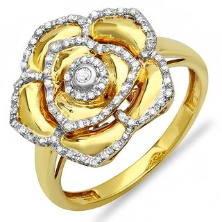 18k Yellow Gold over Silver 1/4ct TDW Diamond Cocktail Right Hand Flower Ring (I-J, I2-I3)