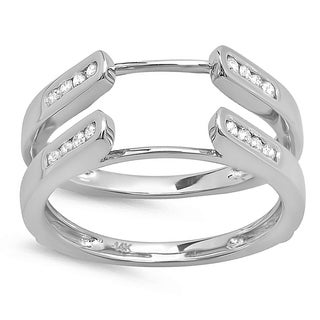 14k White Gold 1/4ct TDW Diamond Guard Double Ring Wedding Band (H-I, I1-I2)