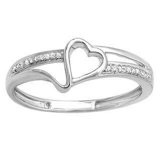 Elora 10k White Gold 1/10ct TDW White Diamond Promise Heart Love Promise Ring (I-J, I2-I3)