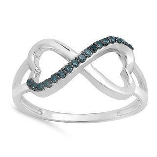 Elora 10k White Gold 1/6ct TDW Blue Diamond Heart Infinity Love Engagement Promise Ring