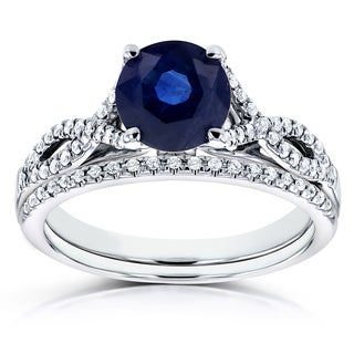 Annello by Kobelli 14k White Gold Blue Sapphire and 1/5ct TDW Diamond Crossover Bridal Set