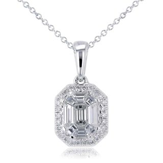 Annello 14k White Gold 1/2ct TDW Emerald-cut Diamond Art Deco Pendant and Chain (H-I, I1-I2)