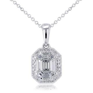 Annello by Kobelli 14k White Gold 1/2ct TDW Emerald-cut Diamond Art Deco Pendant and Chain