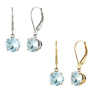 10k Gold 8mm Round Genuine Aquamarine Leverback Dangle Earrings