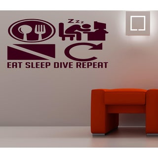 Eat Sleep Dive Repeat Wall Art Sticker Decal Brown