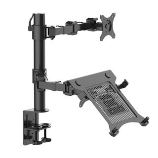 2-in-1 Fleximounts D1dl Full Motion Dual Arm Desk Monitor Laptop Mount Stand Fits 10-30-inch Monitor/ 11-15.6-inch Laptop