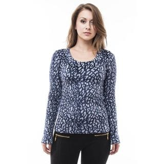 Soho Women Animal Pattern Long Sleeve Fur Top