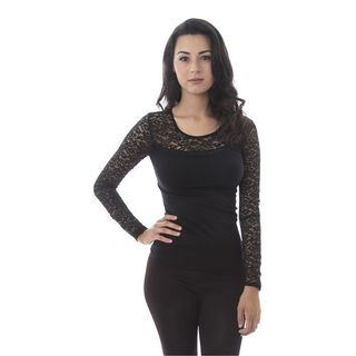Soho Women Long Sleeves Lace Yoke Top