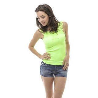 Soho One Size Seamless Crochet Bodice Ribbed Tank Top