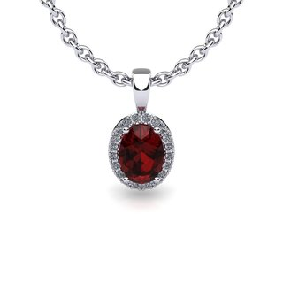 14k White Gold 1ct Oval Shape Garnet and Halo Diamond Necklace with 18-inch Chain