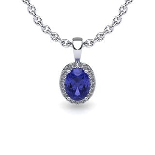 14k White Gold 1ct Oval Shape Tanzanite and Halo Diamond Necklace with 18-inch Chain