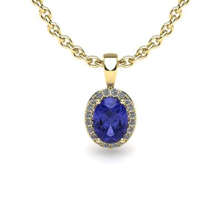 14k Yellow Gold 1ct Oval Shape Tanzanite and Halo Diamond Necklace with 18-inch Chain