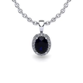 10k White Gold 1ct Oval Shape Sapphire and Halo Diamond Necklace with 18-inch Chain