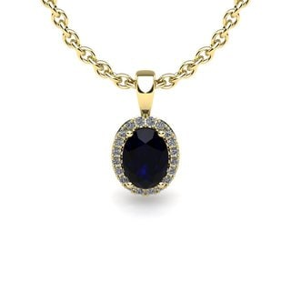 10k Yellow Gold 1 TGW Oval Shape Sapphire and Halo Diamond Necklace with 18-inch Chain