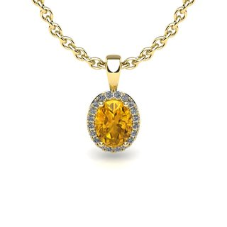 14k Yellow Gold 3/4 TGW Oval Shape Citrine and Halo Diamond Necklace with 18-inch Chain