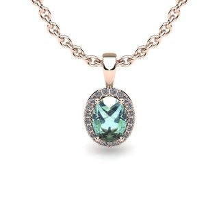 10k Rose Gold 3/4 TGW Oval Shape Green Amethyst and Halo Diamond Necklace with 18-inch Chain