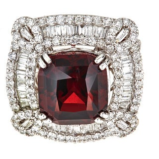 18k White Gold 2 3/4ct TDW Round and Baguette Diamond and Rubelite Ring (G-H, SI1-SI2)