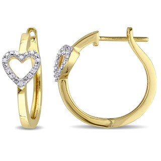 Miadora Yellow Plated Sterling Silver 1/10ct TDW Diamond Hoop Heart Earrings