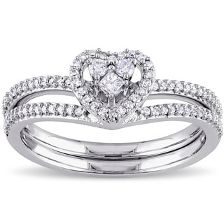 Miadora 10k White Gold 1/3ct TDW Princess-cut Diamond Heart Shaped Bridal Ring Set