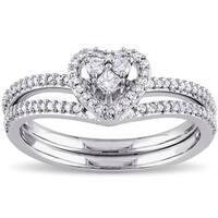 Miadora 10k White Gold 1/3ct TDW Princess-cut Diamond Heart Shaped Bridal Ring Set