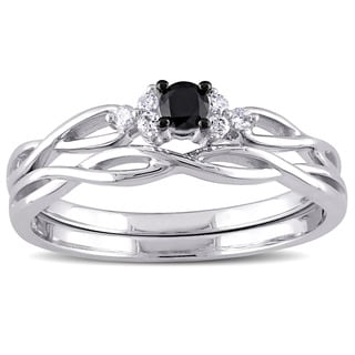 Miadora 10k White Gold 1/6ct TDW Black and White Diamond Infinity Bridal Ring Set